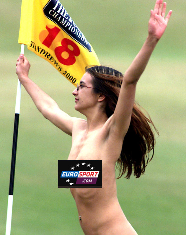 Jaqui Salmond undresses to celebrate brown-skinned male winning British Open Golf Tournament.