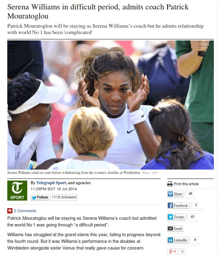 Serena Williams, Wimbledon Doubles, 2014_Telegraph