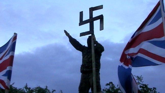 Sun-Wheel (Swastika) Displayed in the UK